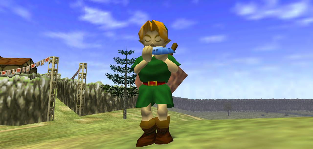 Link tocando ocarina